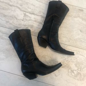 BCBG Women's Black Leather Boots Size 7.5